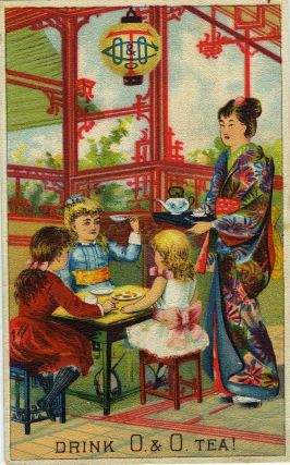 Oriental and Occidental Tea Co., New York, advertising trade card. Tea, Advertising trade cards