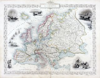 Europe, antique map with vignette views. J. Tallis Rapkin, John