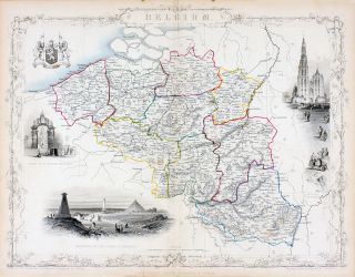 Belgium, antique map with vignette views. J. Tallis Rapkin, John