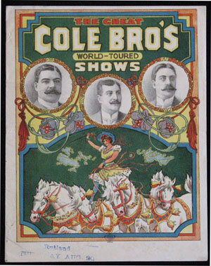 Advance Courier for the Great Cole Bro's World-Toured Shows. Kangaroo, Cole Brothers' Circus