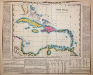 Geographical, Statistical, and Historical Map of the West Indies. West Indies, Henry Carey, Isaac...