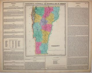 Geographical, Statistical, and Historical Map of Vermont. Vermont, Henry Carey, Isaac Lea