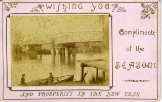 Cabinet Photograph / Christmas card of Latrobe Swing Bridge, Sale, Victoria, Australia. Victoria,...