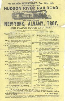 On and After Wednesday, Dec. 25th, 1861, Trains on the Hudson River Railroad To and From...