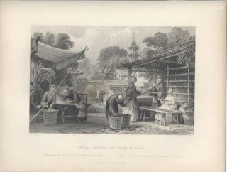 Feeding Silkworms, and Sorting the Cocoons. Silk, Thomas Allom