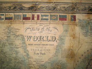 Map of the World on Mercators Projection. New York 1845. Geographical Part engraved by John M. Atwood, NY.