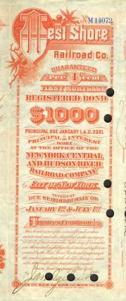 West Shore Railroad Company (Hudson River). First Mortgage Guaranteed Bond, Issued $1,000.00; dated 1892.