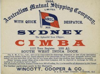 Advertising trade card, iron clipper 'Cimba', London to Sydney. Australian Mutual Shipping...