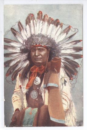 """Chief Hollow Horn"", color postcard. Raphael Tuck"