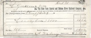 Receipt for transportation charge, New York Central and Hudson River Railroad Company; $25.50....