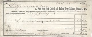 Receipt for transportation charge, New York Central and Hudson River Railroad Company; $28.00....