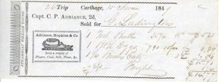 Receipt for foods transported on the Steamboat William Young (out of Newburgh, NY), Capt. C. P....
