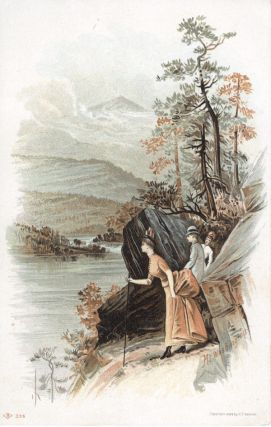 "Two ladies and a gentleman viewing the river, titled ""Mt. Washington""; chromolithographic..."