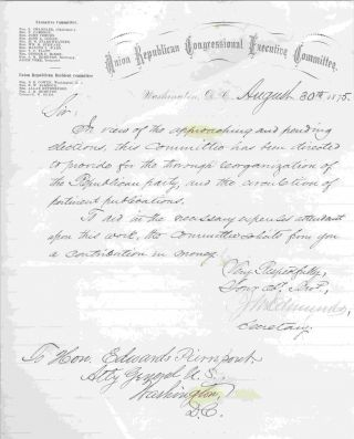 Solicitation for contribution for circulation of publications and organization, August 30, 1875...