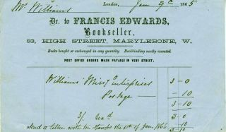 Francis Edwards, Bookseller. Receipt