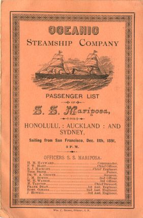 Oceanic Steamship Company, Passenger List, S. S. Mariposa, for Honolulu, Auckland and Sydney,...