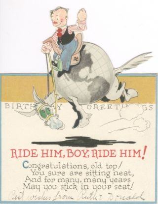 "Die Cut Shape Card, ""Ride Him, Boy, Ride Him!"""