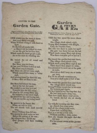 Garden Gate and Answer to the Garden Gate (Broadside Ballad