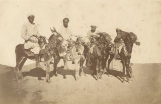Photograph of Four Bedouins on Donkeys, Suez, 1870
