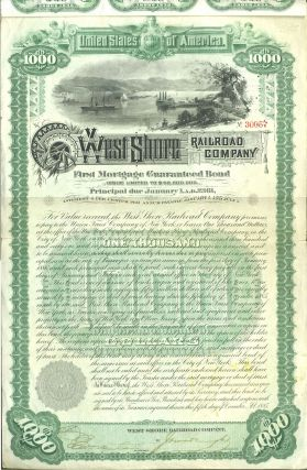 West Shore Railroad Company (Hudson River). First Mortgage Guaranteed Bond, Issued $1,000.00. NY...