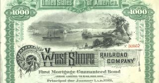 West Shore Railroad Company (Hudson River). First Mortgage Guaranteed Bond, Issued $1,000.00.