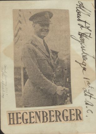 Autograph of Albert Hegenberger, Long-Distance Flight Pioneer.