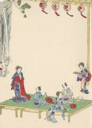 Japanese Notecard Showing Men Being Entertained by Geishas.