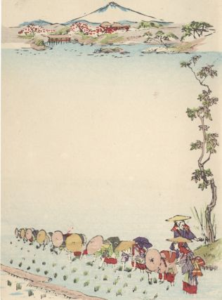 Japanese Notecard Showing Women Harvesting Rice