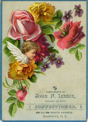 Advertising Card for John F. Linsin, Confectioner, Rochester, New York