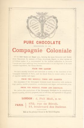 Price List for Compagnie Coloniale Chocolates