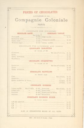 Price List for Compagnie Coloniale Chocolates.