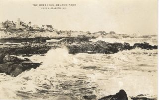 The Breakers-Delano Park, Cape Elizabeth, Maine Real Photo Postcard