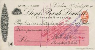 Autographed check from Shackleton fom his Imperial Trans-Antarctic Expedition, signed by...