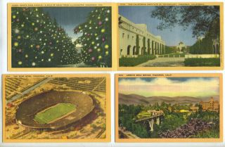 Four Linen Postcards with Scenes from Pasadena, California. California, postcard