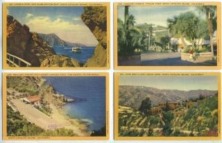 Five Linen Postcards with Scenes from Santa Catalina Island, California