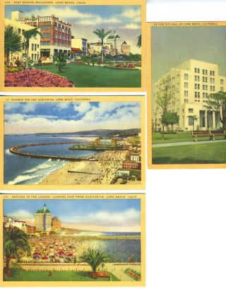 Four Linen Postcards with Scenes from Long Beach, California
