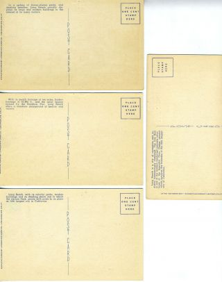 Four Linen Postcards with Scenes from Long Beach, California.