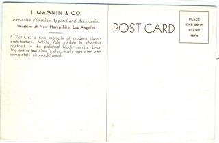 Postcard of I. Magnin & Co. at Wilshire and New Hampshire in Los Angeles, California.