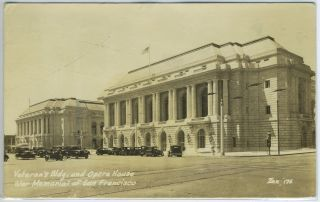 Real-Photo Postcard of Veteran's Building and Opera House War Memorial, San Francisco, California