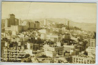Real-Photo Postcard of San Francisco, California with Mount Tamalpais in Background