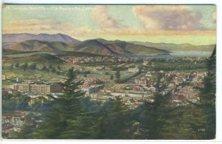 Postcard of Bird's Eye View of San Francisco with Mt. Tamalpais and Marin Hills