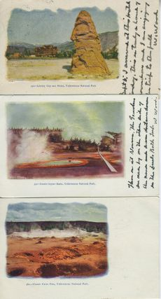 Eight Embossed Postcards With Scenes from Yellowstone National Park, Wyoming
