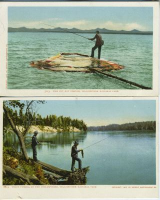 Two Postcards of Fishermen at Yellowstone National Park, Wyoming