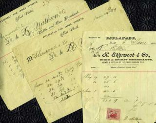 Trade Receipts for wine and beer from Perth, Australia merchants 'H. Sherwood & Co., Wine &...