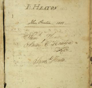 Pre Civil War Ledger recording free blacks working at Heaton Family Farm (John Heaton and Samuel Cooper Heaton), Amenia & Washington, Dutchess County New York, 1801-1843.