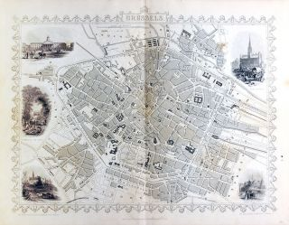 Brussels, antique map with vignette views. J. Tallis Rapkin, John