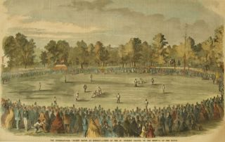 The International Cricket Match at Hoboken -- Scene on the St. George's Ground, on the Morning of...
