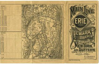 Erie Railroad Time Table. Main Line and Newark Branch between New York and Suffern, June 1893.