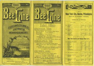 The Bee Line, Cleveland, Columbus, Cincinnati & Indianapolis Railway time table. July 1881