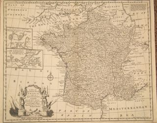 A New and Accurate Map of France with Its Acquisitions Composed of the Latest Surveys. Emanuel Bowen